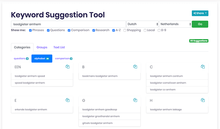Keyword suggestion tool SEO scout