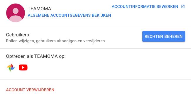 Rechten beheren youtube kanaal