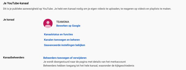 Youtube kanaalbeheerders toevoegen of verwijderen