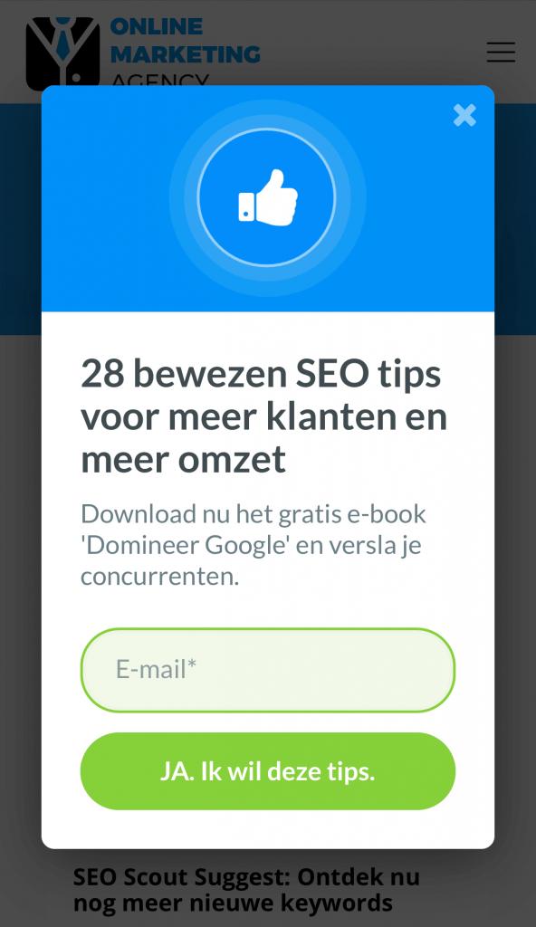mobile pop-up