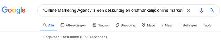 Aanhalingstekens in Google zoekopdracht