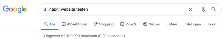 Google search operator allintext