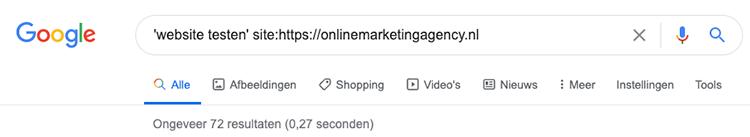 zoekwoord combineren met site operator
