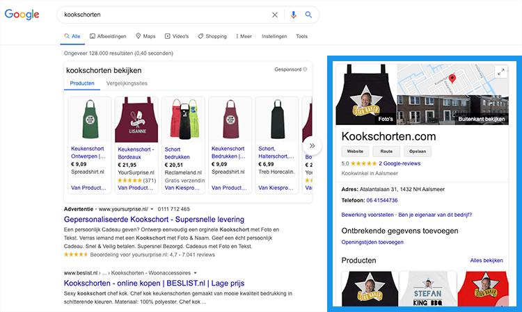 Google Mijn bedrijf voorbeeld