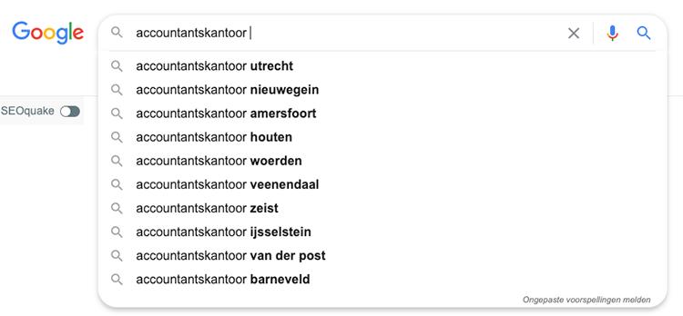 Google zoekwoorden afmaken functie