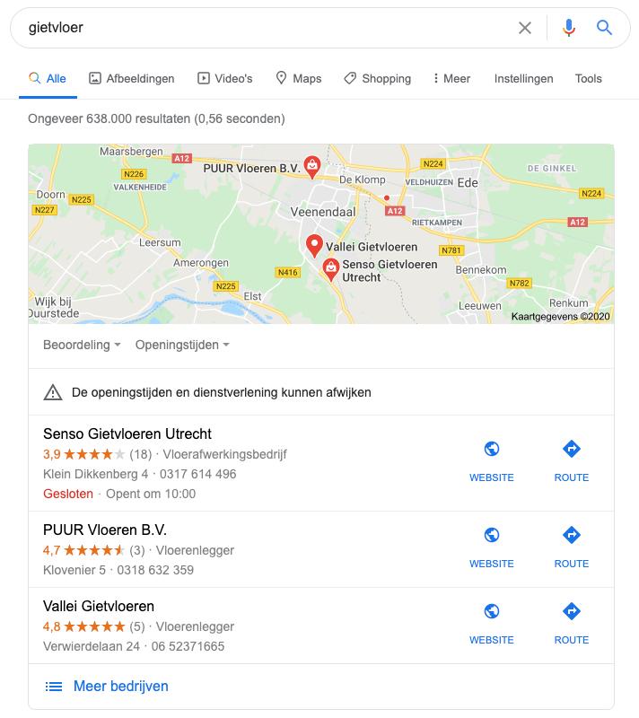 bedrijfsnaam google maps SEO