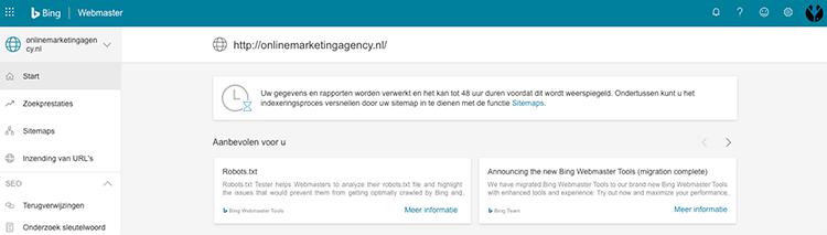 Bing Webmaster Tools back-end