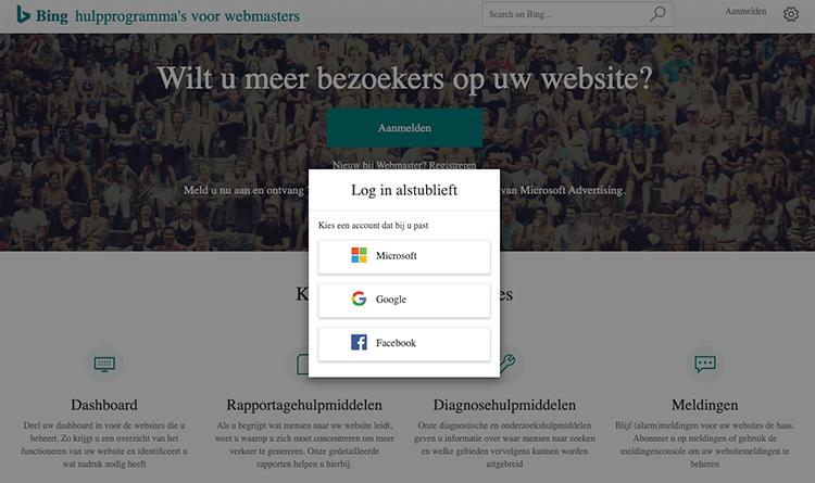 Inloggen Google voor Bing Webmaster tools