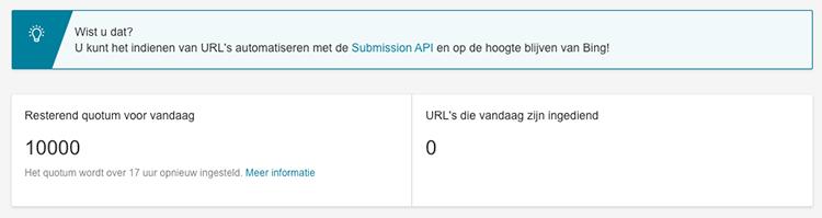 Inzending van URLs bing