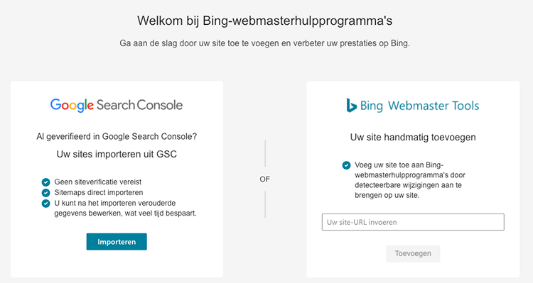 Search Console data importeren bing