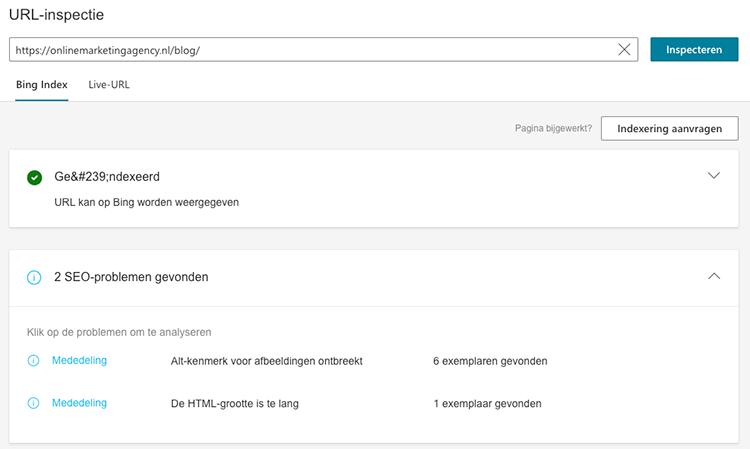 URL-inspectie Bing Webmaster tools