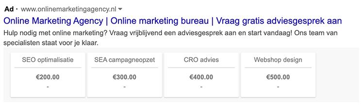 prijs extensie google ads
