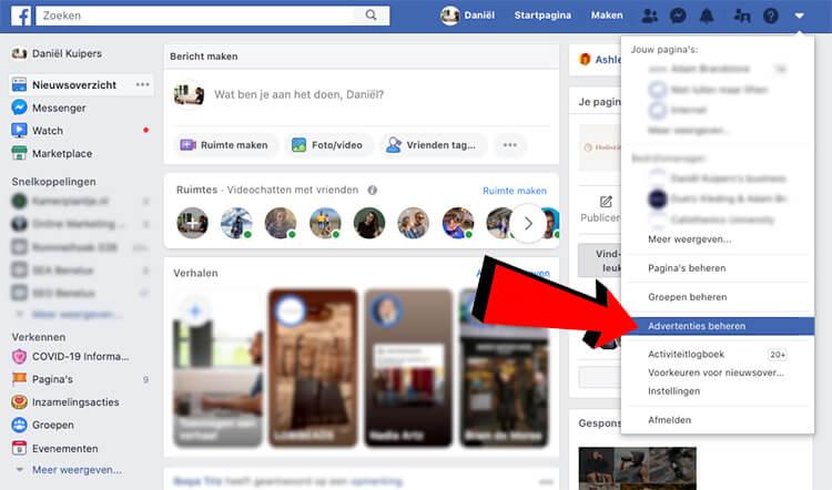 Advertenties beheren facebook