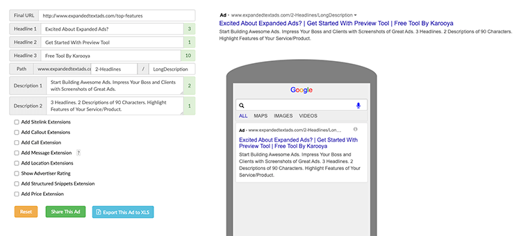 Karooya Expanded Text Ad Preview tool