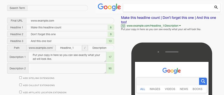 NordicClick Google Ads Preview tool