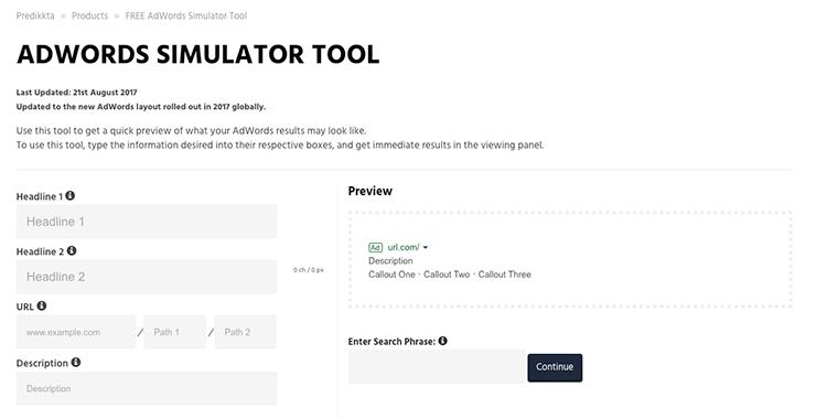 Predikkta Free Adwords Simulator tool