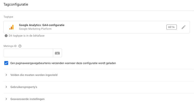GA4 metings-id toevoegen