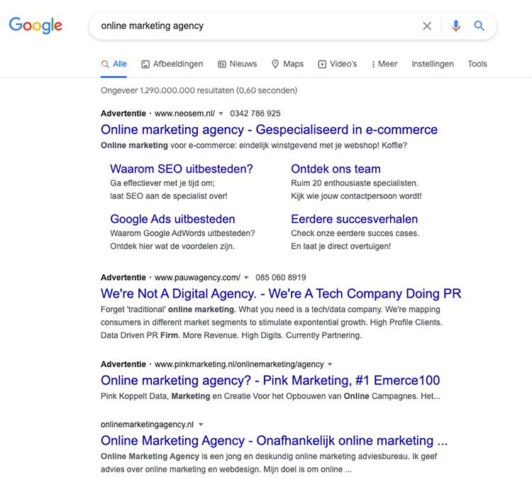 google advertenties boven organisch zoekresultaten