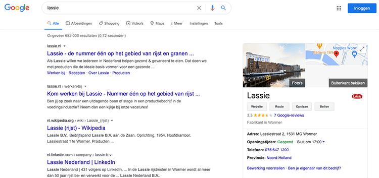Google Mijn Bedrijf blokje