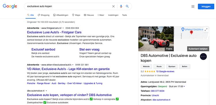 Google mijn bedrijf zoekwoord