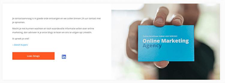 bedankpagina Online marketing agency
