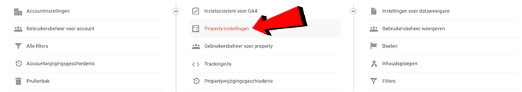 Property-instellingen analytics
