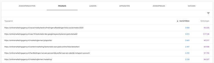 search console pagina's